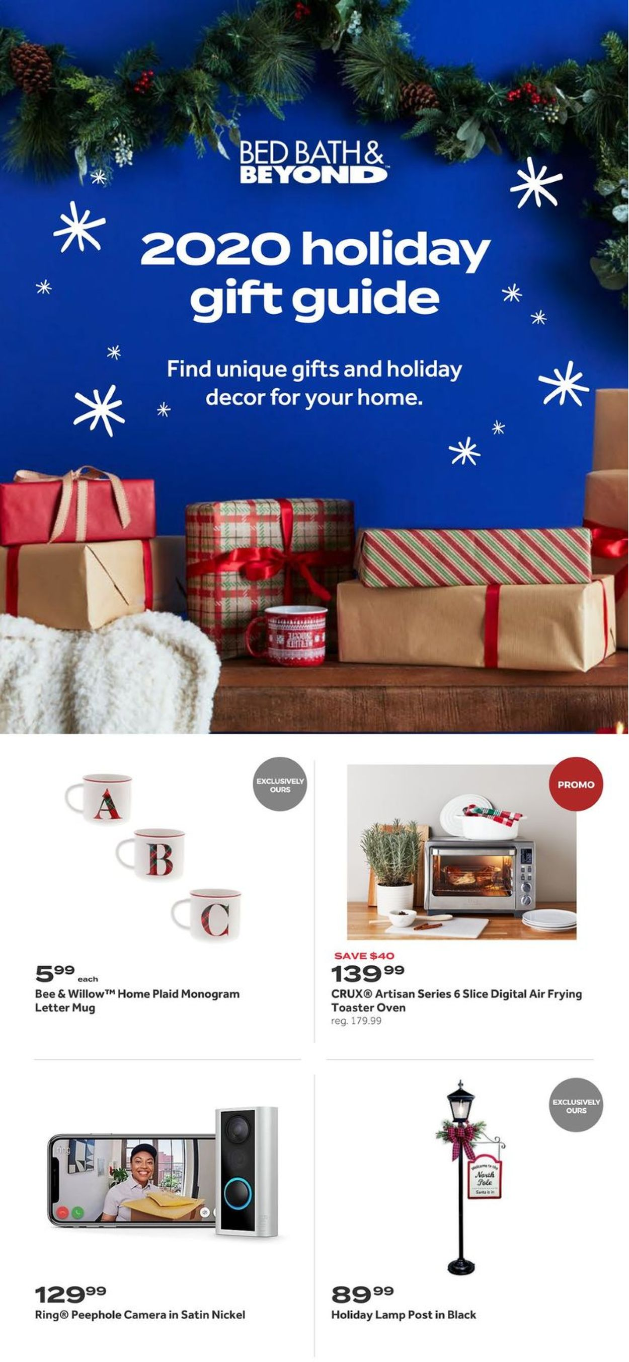 Catalogue Bed Bath and Beyond Holiday Gifts 2020 from 12/01/2020