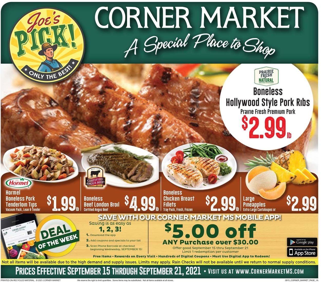 Catalogue Corner Market from 09/15/2021