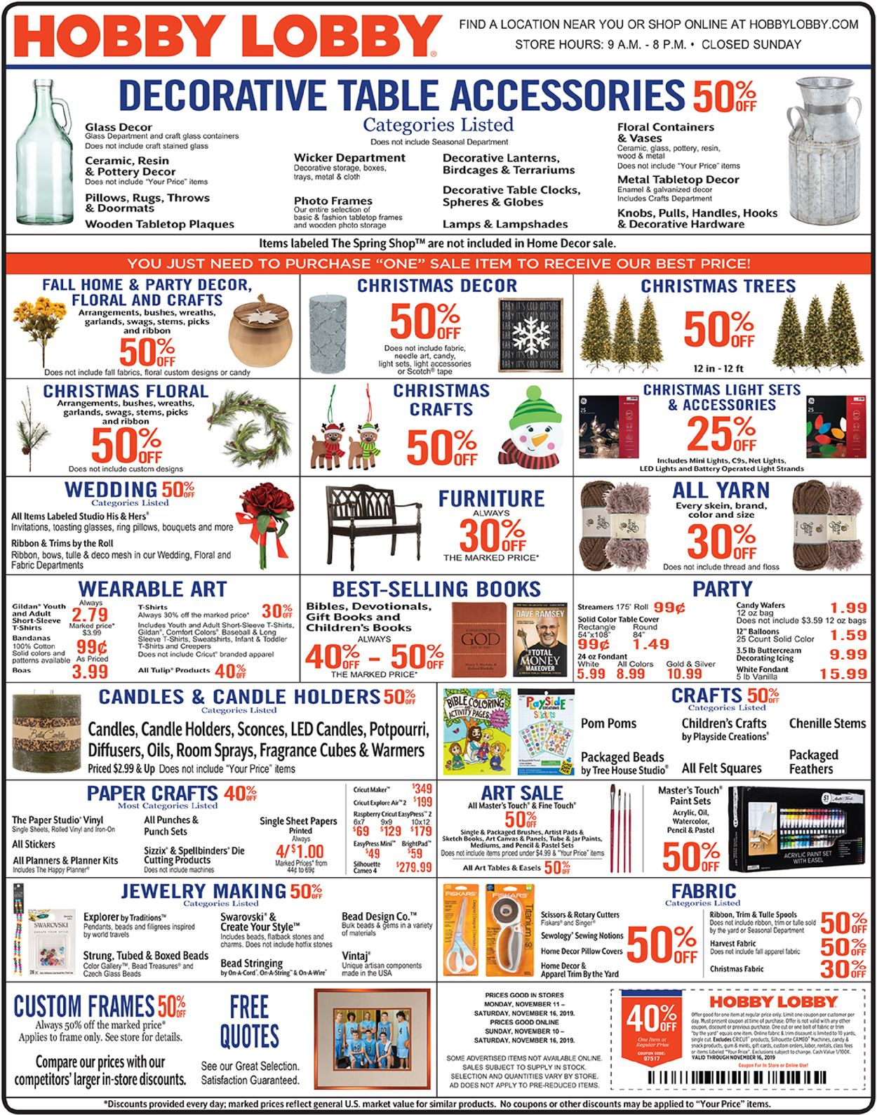 Hobby Lobby Current Weekly Ad 11 11 11 16 2019 Frequent Ads Com