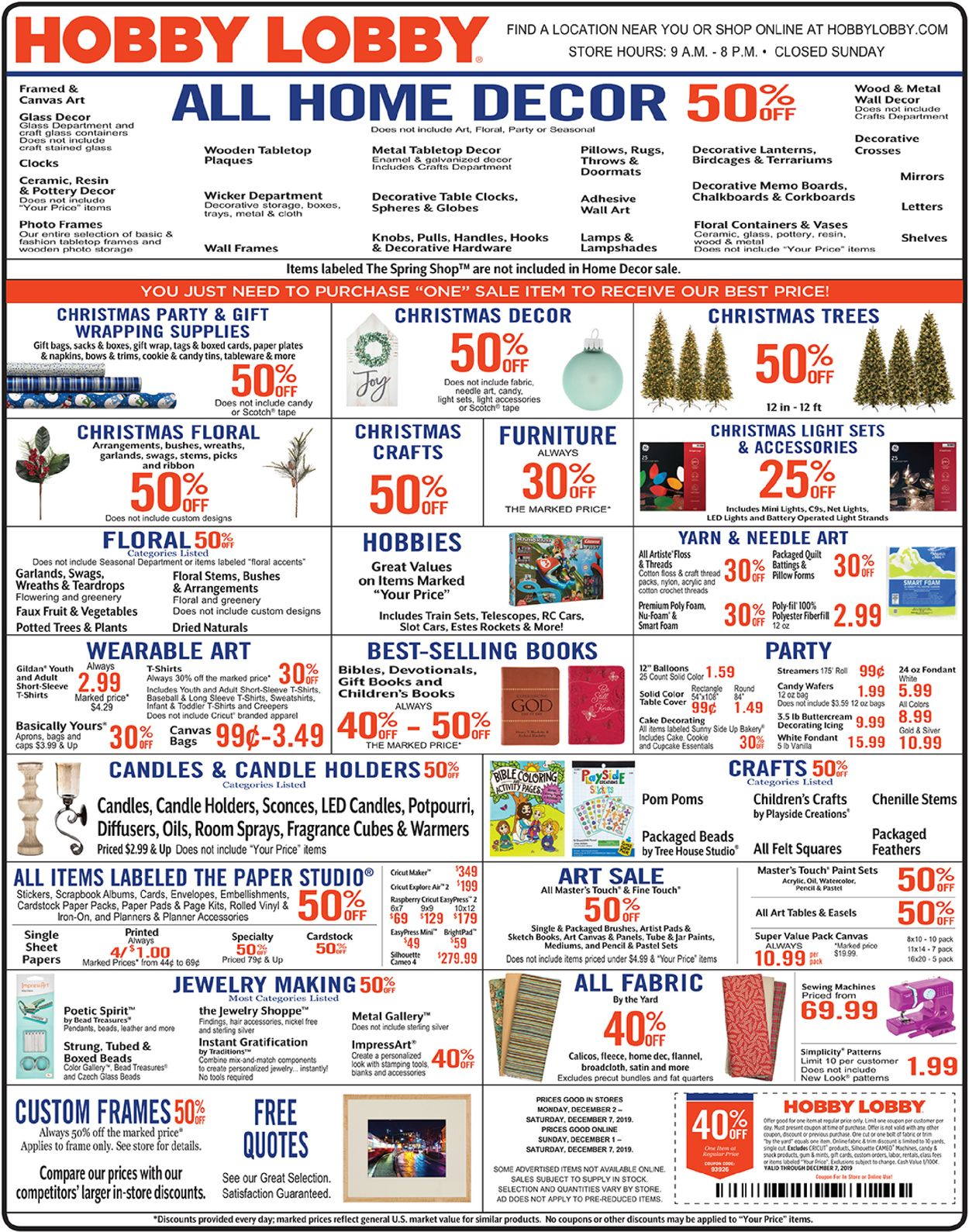Hobby Lobby Current Weekly Ad 12 02 12 07 2019 Frequent Ads Com