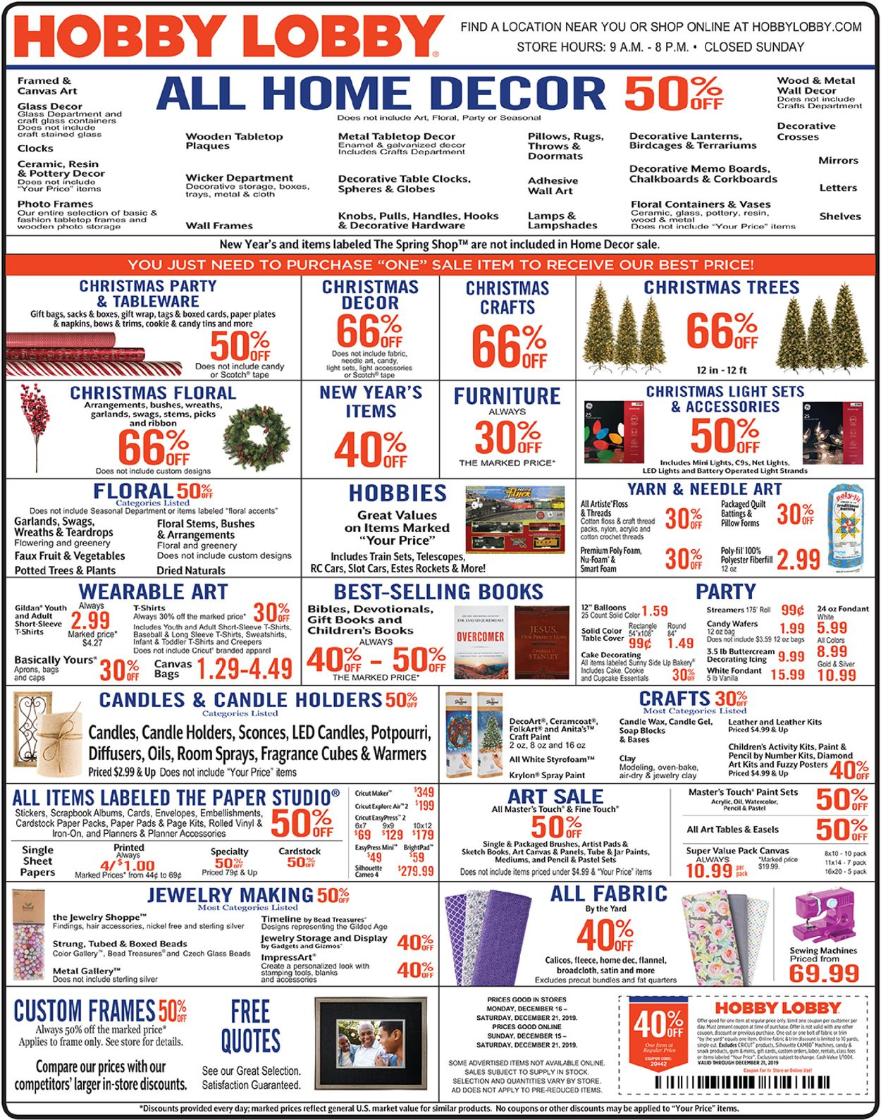 Hobby Lobby Christmas Ad 2019 Current Weekly Ad 12 16 12 21 2019 Frequent Ads Com