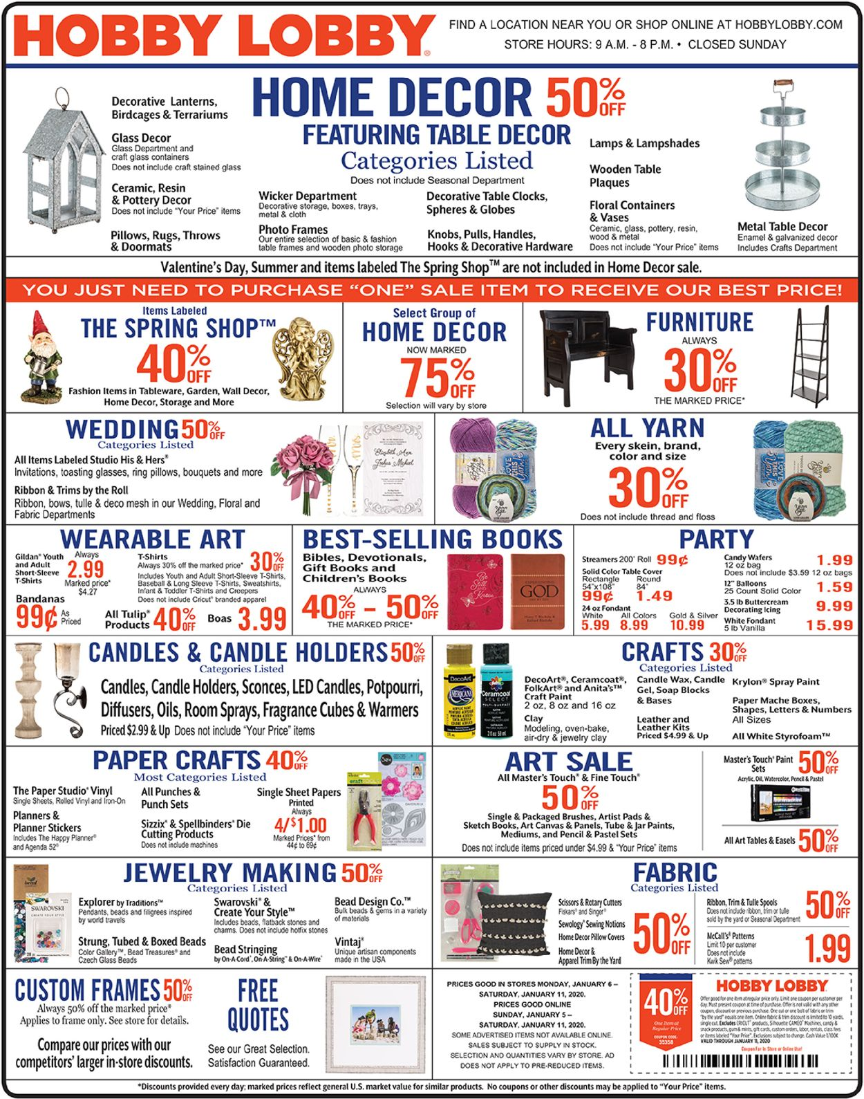 Hobby Lobby Current Weekly Ad 01 07 01 11 2020 Frequent Ads Com