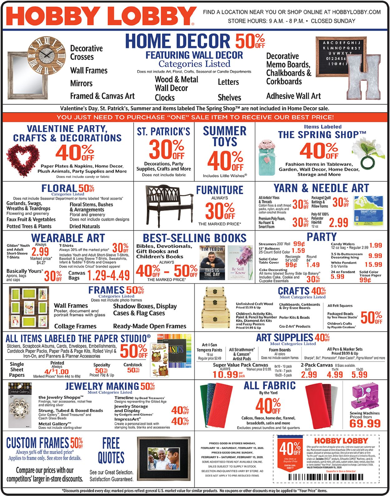 Hobby Lobby Current Weekly Ad 02 10 02 15 2020 Frequent Ads Com