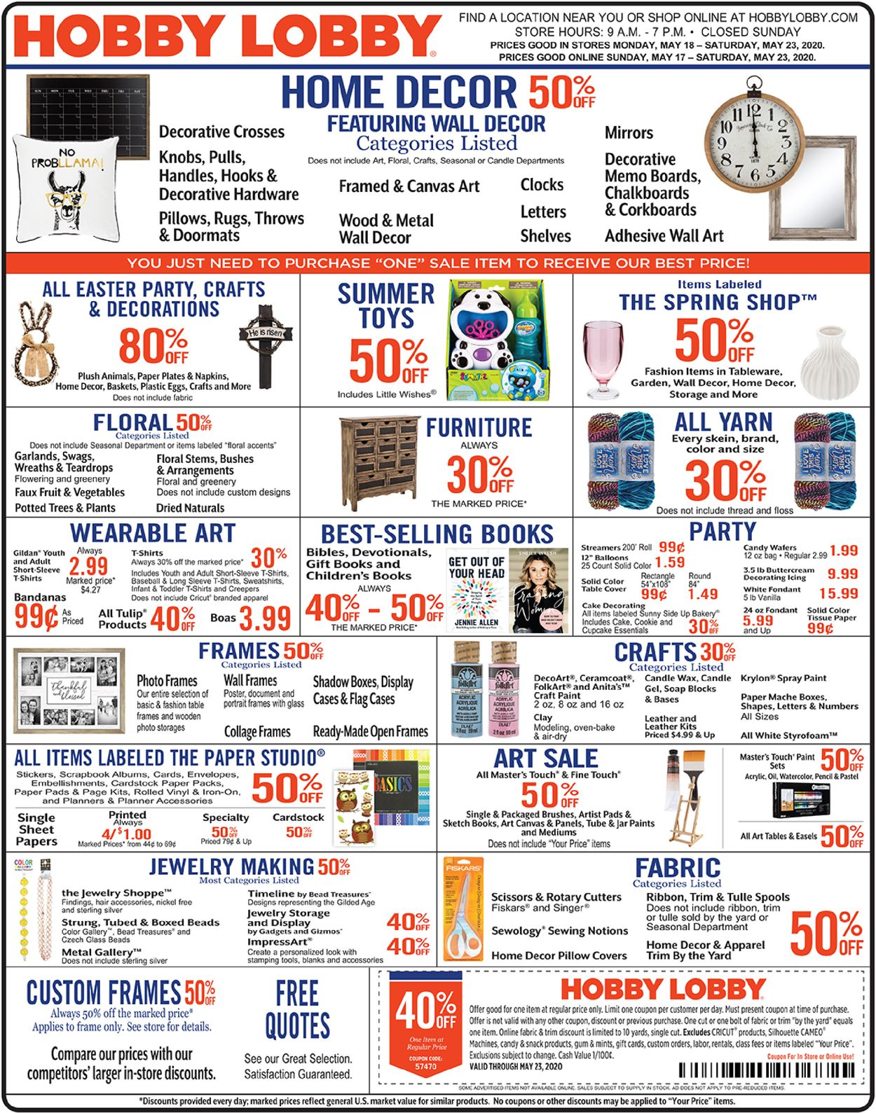 Hobby Lobby Current Weekly Ad 05 18 05 23 2020 Frequent Ads Com