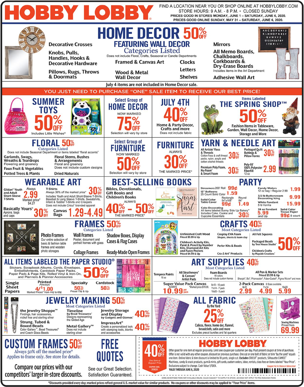Hobby Lobby Current Weekly Ad 06 01 06 06 2020 Frequent Ads Com