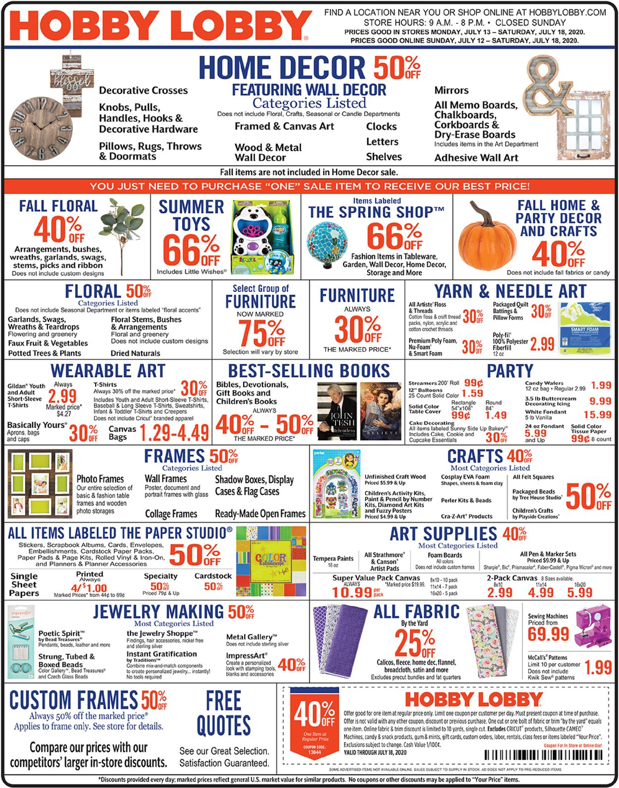 Hobby Lobby Current Weekly Ad 07 13 07 18 2020 Frequent Ads Com