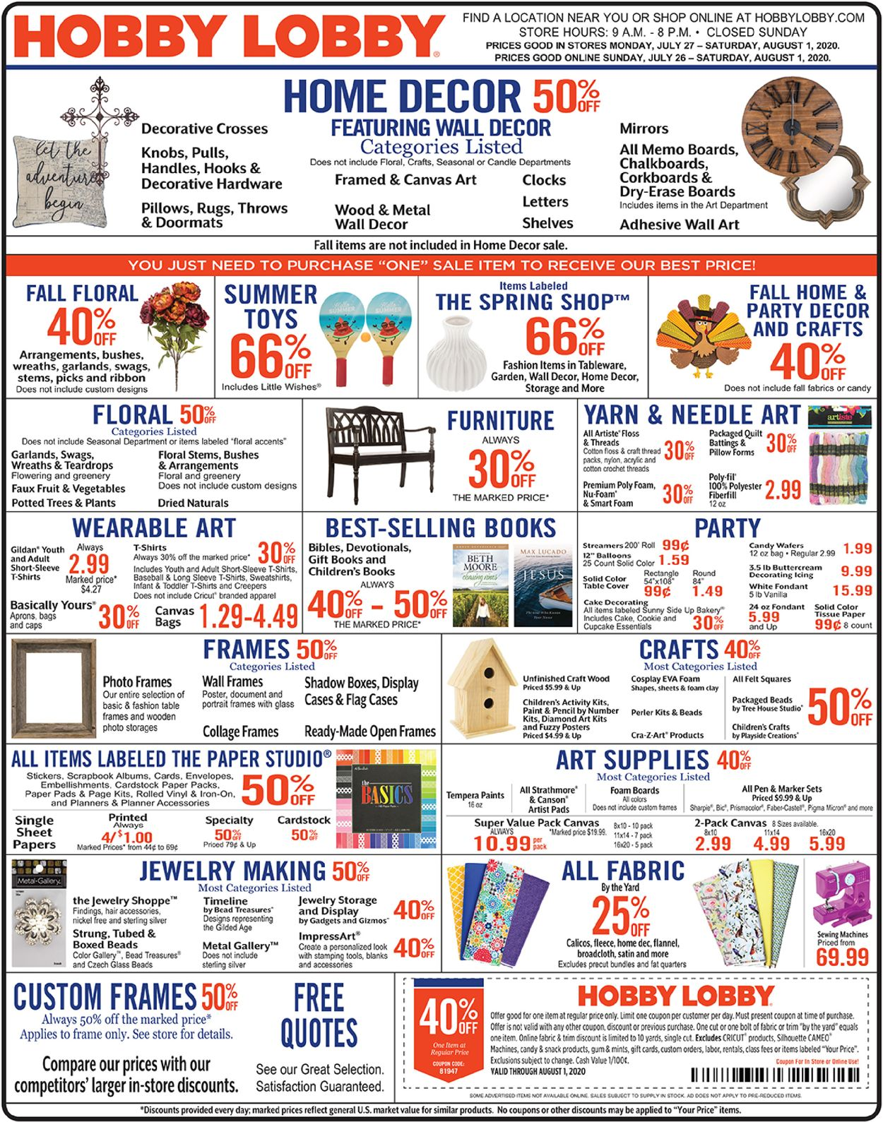 Hobby Lobby Current Weekly Ad 07 27 08 01 2020 Frequent Ads Com