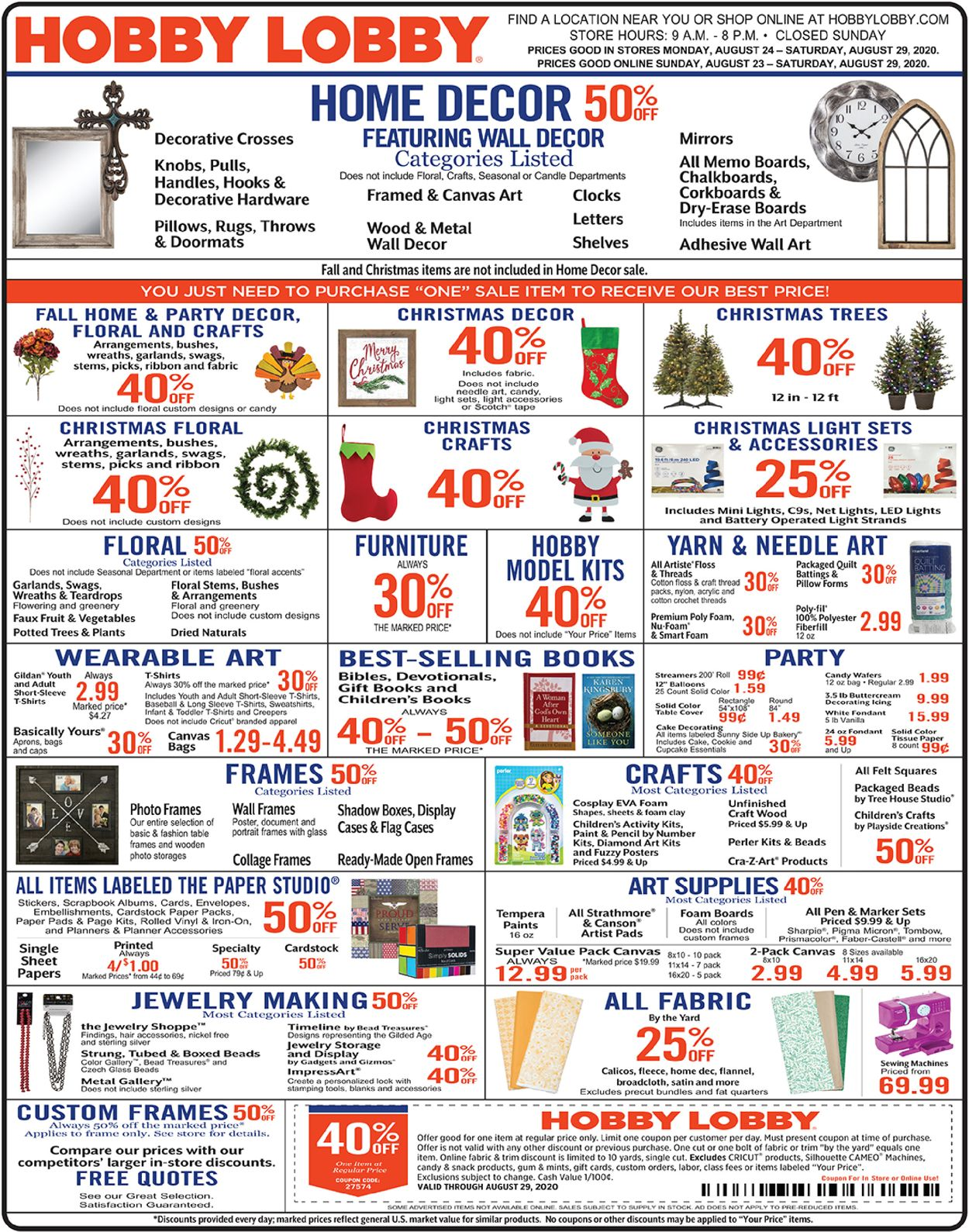 Hobby Lobby Current Weekly Ad 08 24 08 29 2020 Frequent Ads Com