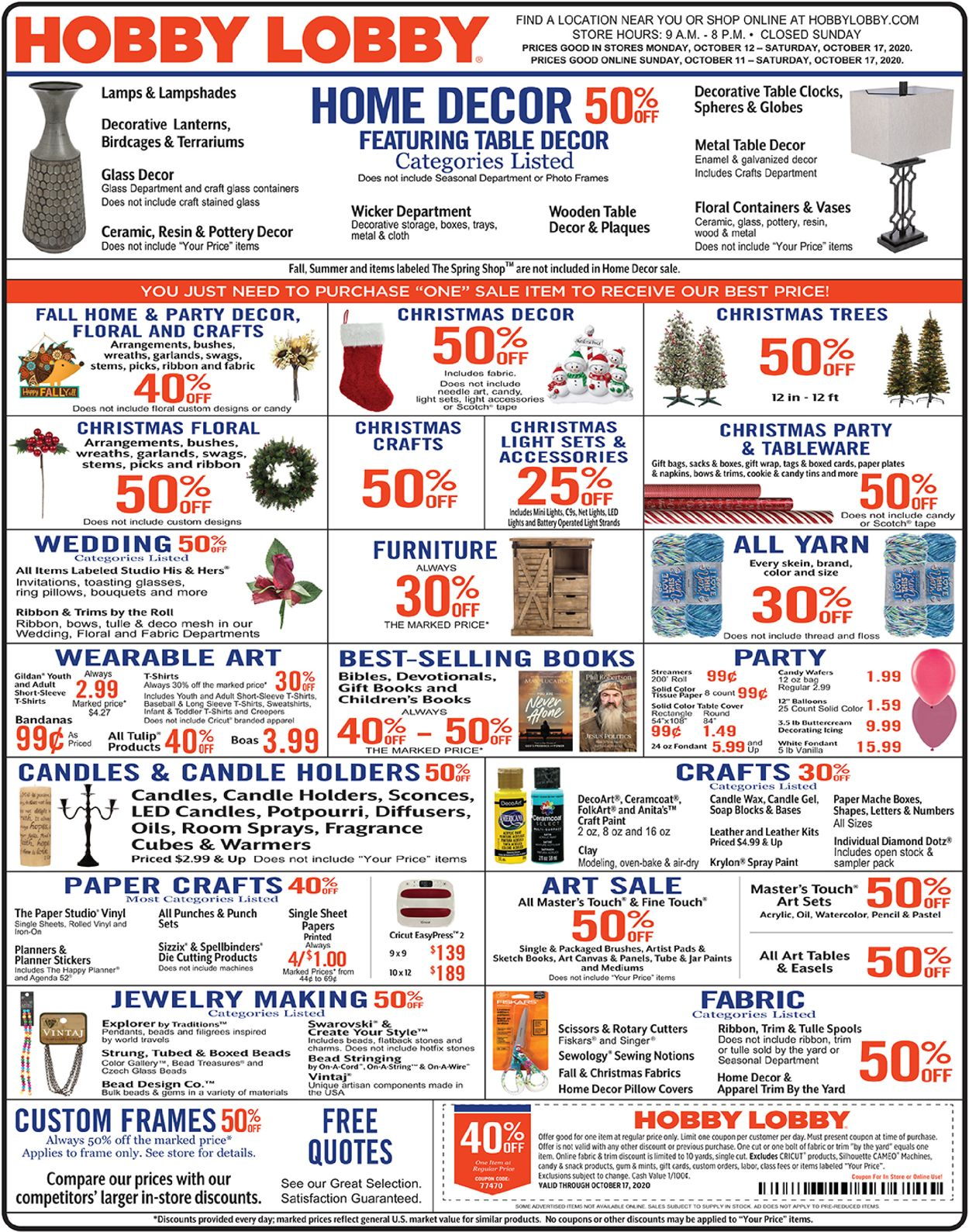 Hobby Lobby Current Weekly Ad 10 11 10 17 2020 Frequent Ads Com