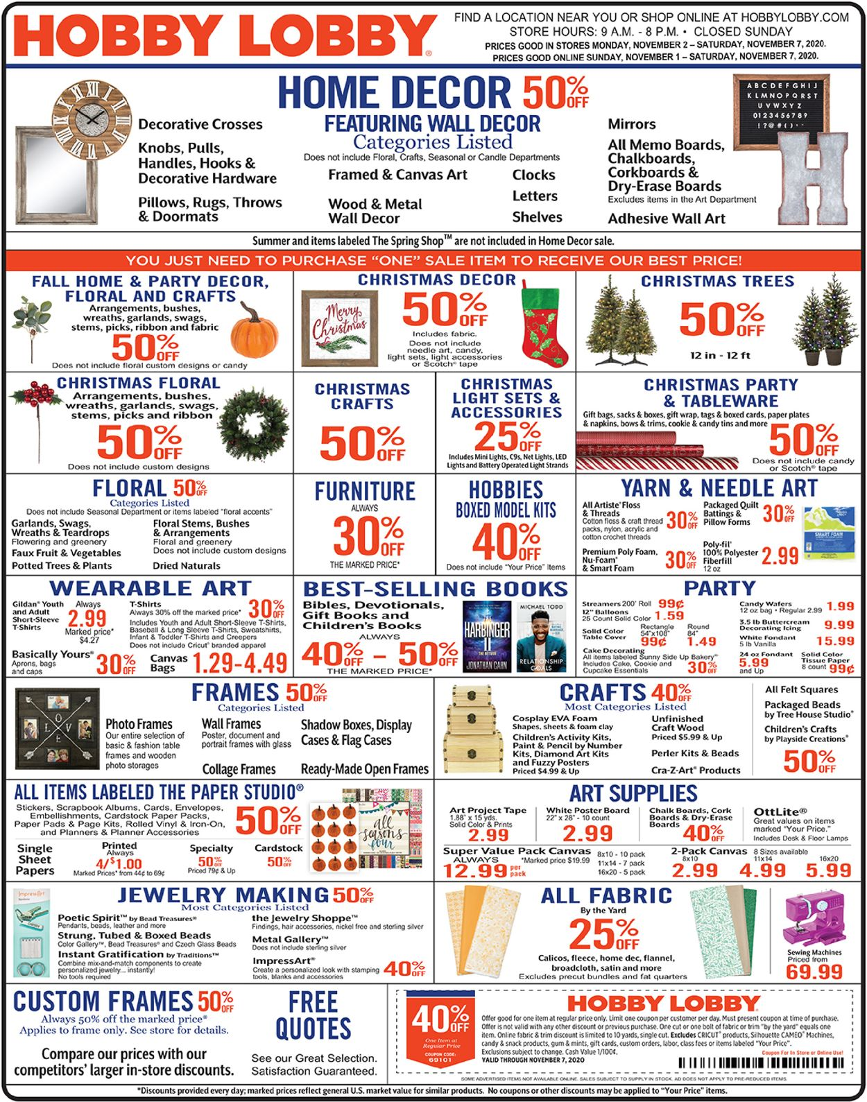 Hobby Lobby Current Weekly Ad 11 01 11 07 2020 Frequent Ads Com