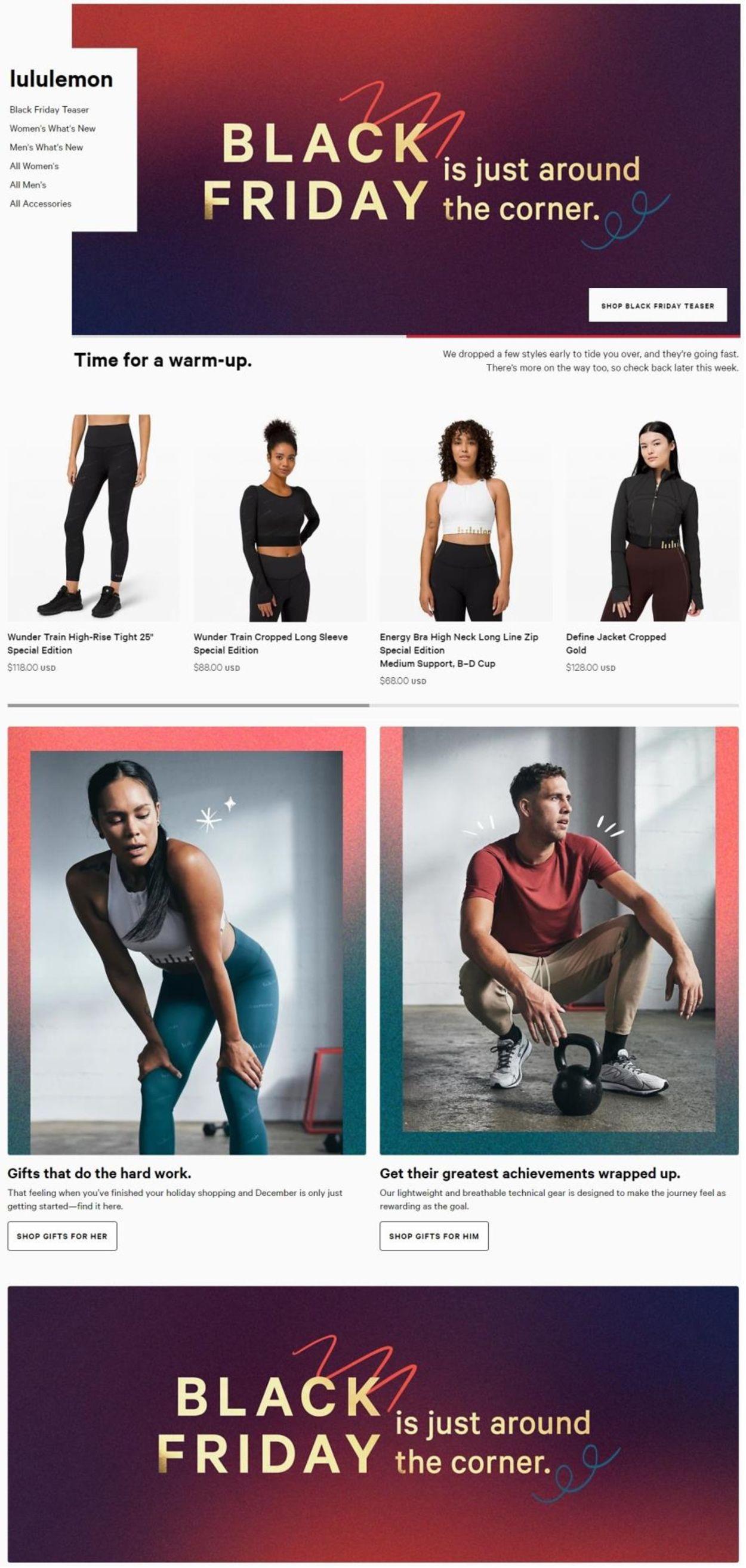 Catalogue Lululemon Black Friday 2020 from 11/27/2020