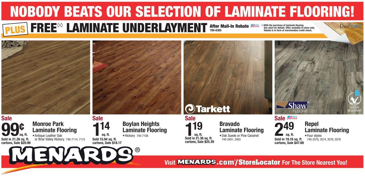 Menards Cur Weekly Ad 09 29 10 12, Menards Flooring Underlayment