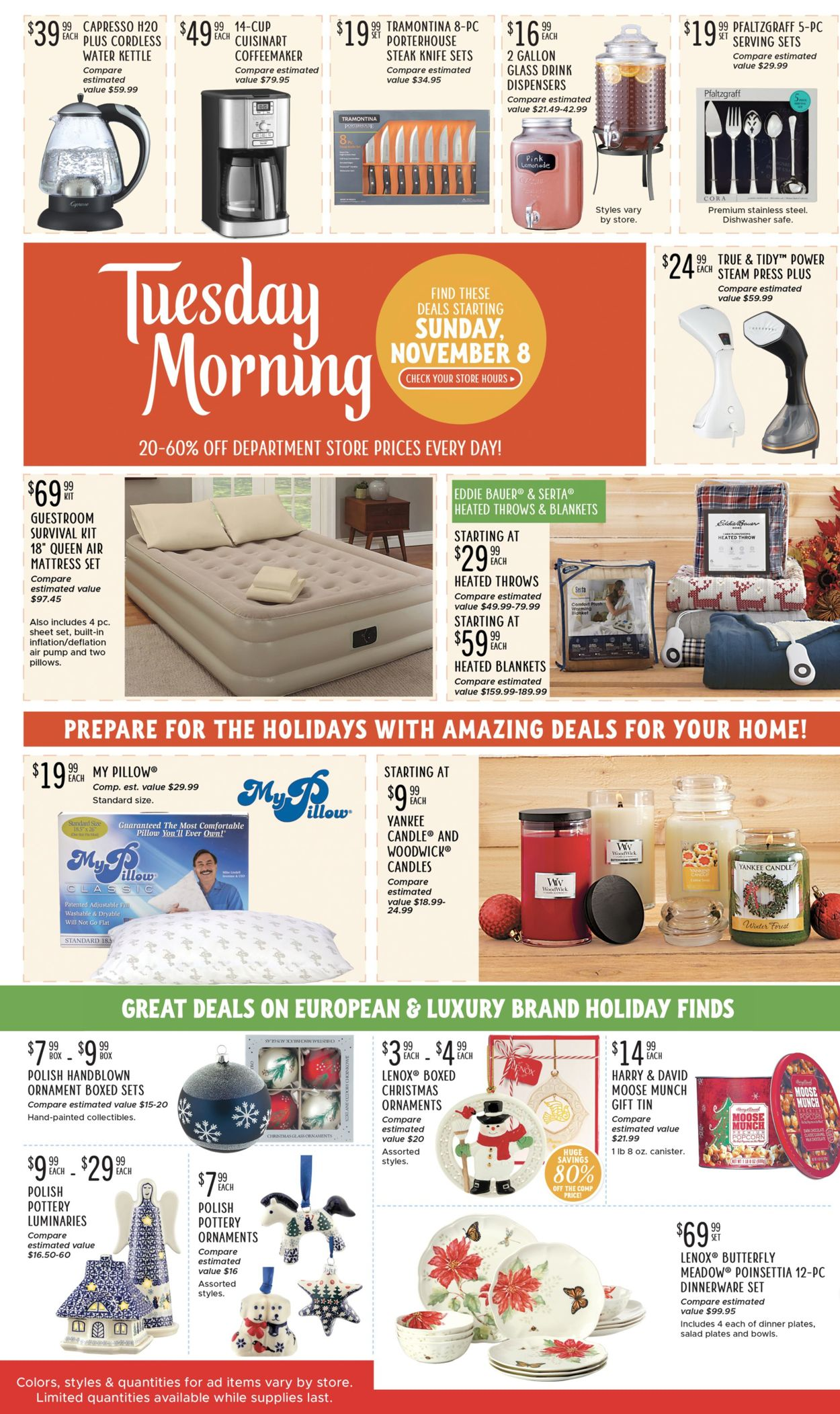 Catalogue Tuesday Mroning - Holidays 2020 from 11/08/2020