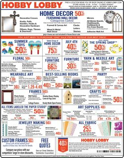 Catalogue Hobby Lobby from 06/15/2020
