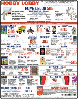 Catalogue Hobby Lobby from 06/29/2020